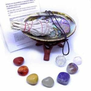 Chakra Stones With Sage Smudge And Abalone Stand Gift Kit