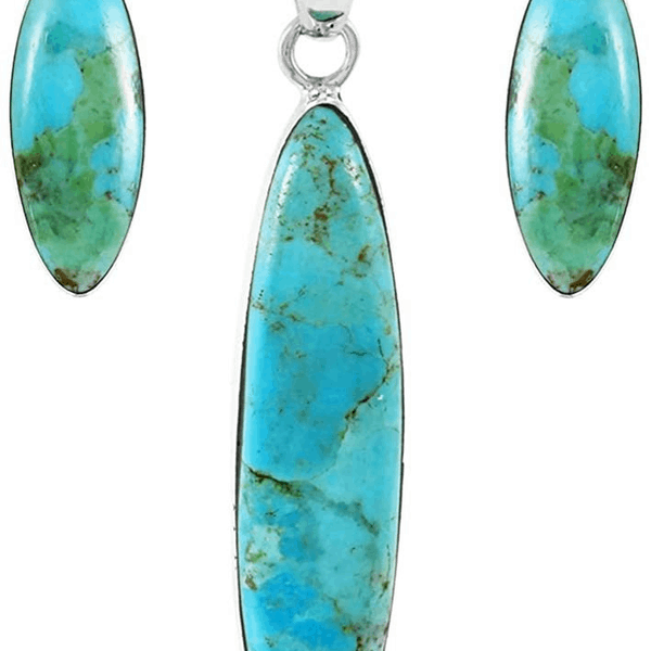 2 Genuine Turquoise Sterling Silver Earrings - Top Quality