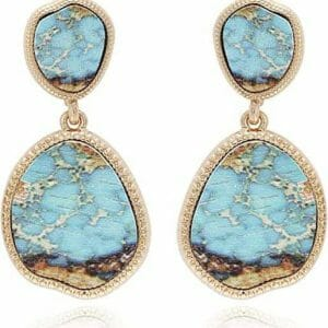 BONALUNA Oval Shaped Drop Statement Earrings