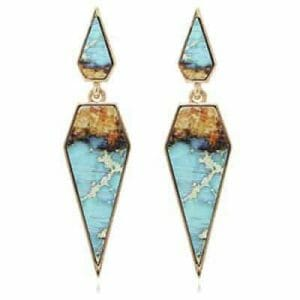 Bohemian Wood And Marble Pentagon Drop Earrings
