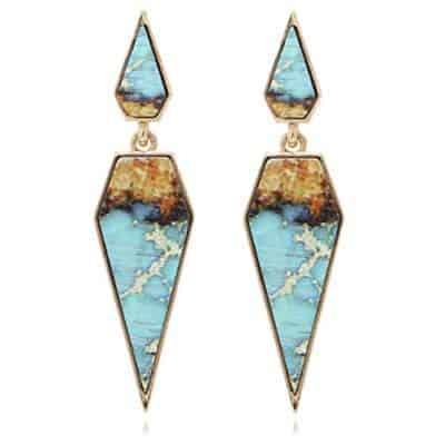 Bohemian Wood And Marble Pentagon Drop Earrings