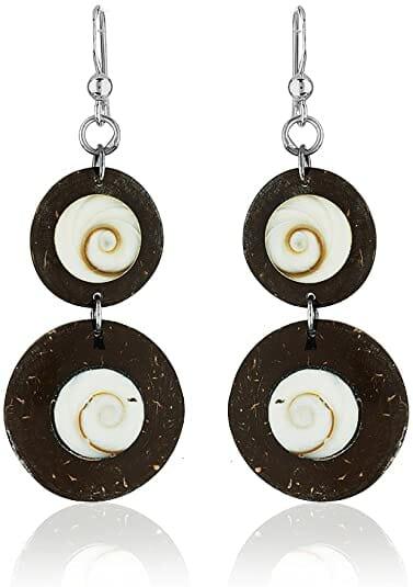 Brown Coconut Boho Hippie Earrings