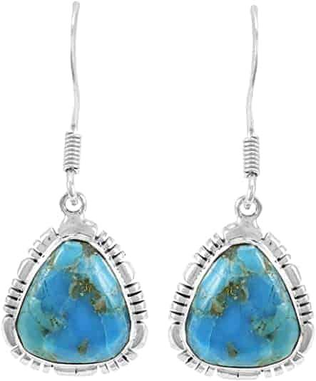 Genuine Turquoise 925 Sterling Silver Earrings