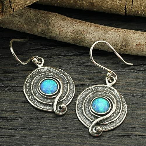 Round Sterling Silver Dangle Earrings With Spiral