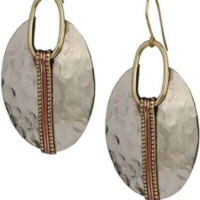 Silver Ethnic Hammered Earrings