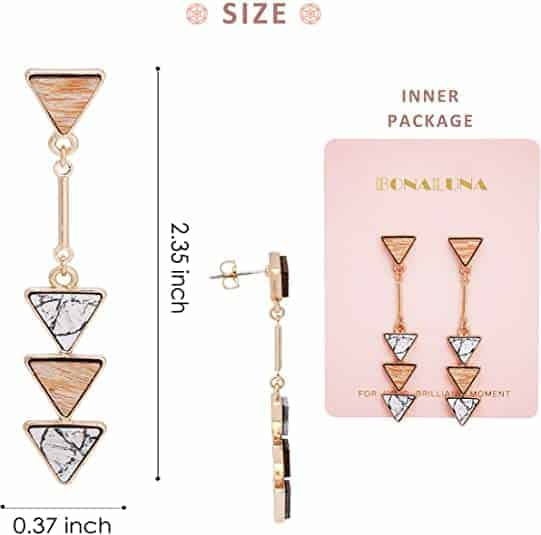 Wood And Marble Triangle Earrings - #1 Bohemian Best Quality
