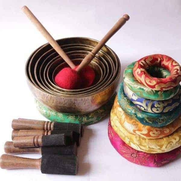 Chakra Healing Tibetan Singing Bowl Set (7 Hand Hammered Meditation Bowls)