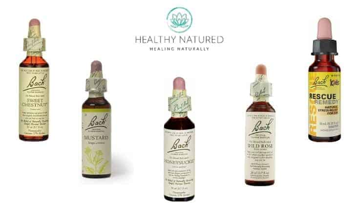 Bach Flowers Natural Supplements For Anxiety - Sweet Chestnut, Mustard, Honeysuckle, Wild Rose, Rescue Remedy