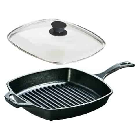 Lodge Seasoned Cast Iron Cookware Set - Square Grill Pan With Square Tempered Glass Lid.