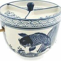 Multi Purpose Japanese Ceramic Ramen Noodle Bowl With Chopsticks And Condiment Lid.